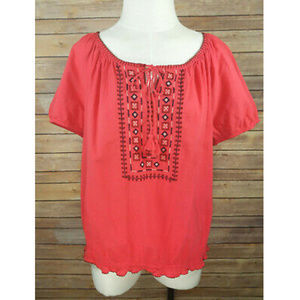 St. John's Bay Pink Embroidered Puffy Peasant Top